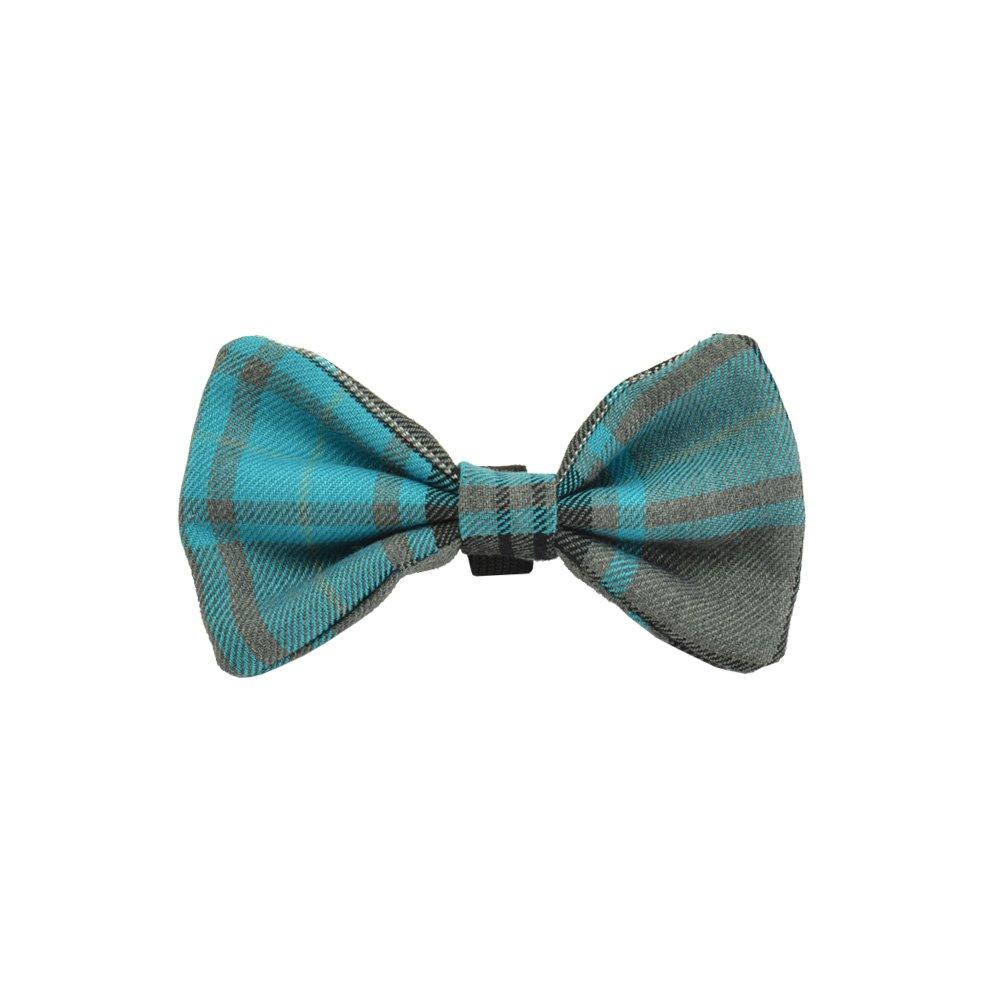 Aqua Tartan Dog Bow Tie