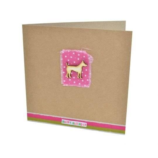 Pink dog birthday card